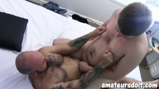 AmateursDoIt - Amateur Bears Jackson and Wyatt riding cock after blowjob