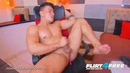 Morgan Kanex on Flirt4Free - Muscle Worship Latino as He Cums on Sexy Abs