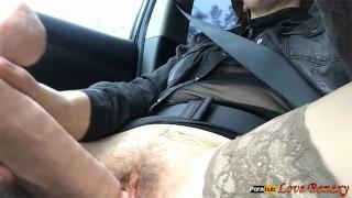 Hairy Pussy Masturbation in the Car