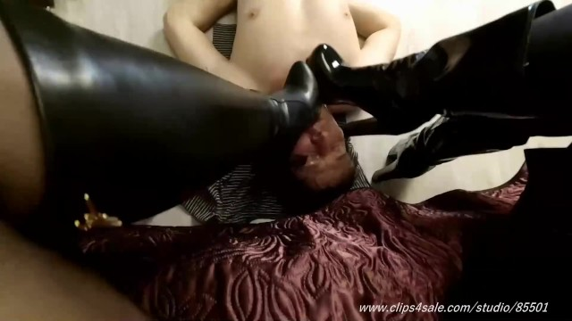 Humiliation cock Cruel girls boot humiliate slave spitting femdom boot fetish boot licking