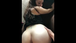 Fucking chick doggystyle on her boyfriends couch