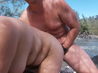 Amateur Couple Risky Public Nude Beach Rock Sex