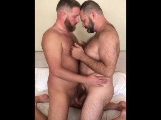 Bearded daddy bears get naked and make out...