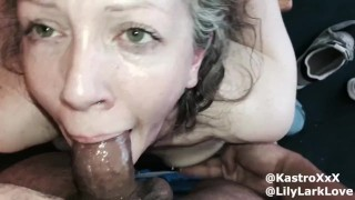 Cali Kastro gives Lily Lark's insatiable throat the fucking it deserves
