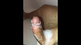 Male masturbation - Cum fountain flowing from my hard soapy dick