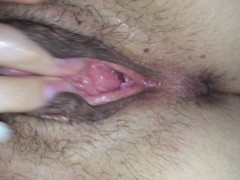 young girl jerk it and masturbate herself with her hairy little pussy