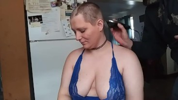 Shaved bald in lingerie