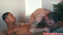 Euro stud gets massaged by black punk