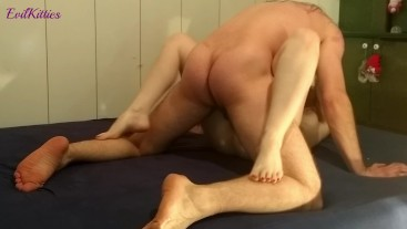 Making him cum hard inside me, guy moaning, intense guy orgasm