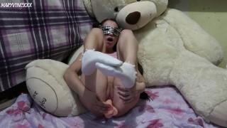 Schoolgirl in white socks Masturbates in front of Teddy bear - MaryVincXXX
