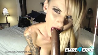 Alex Vonde on Flirt4Free – Kinky Tatted Cougar Sucks and Fucks a Big Dildo