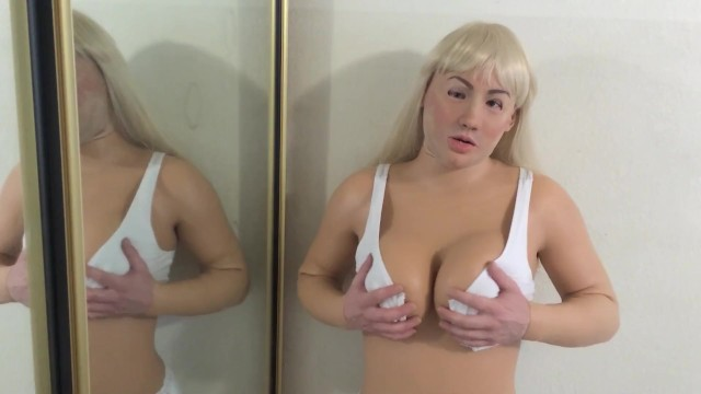 Boobs black bodysuit - Releasing my big tits in female mask and silicone bodysuit