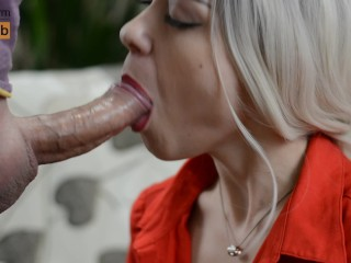 Gentle Red Lips and Wet Blowjob With Cum in Mouth – MonaCharm