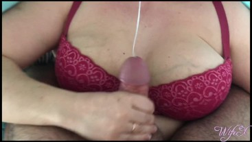 She handjobs over her bra and causes massive cum in just 30 seconds   WifeX