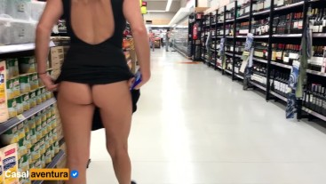 Real Amateur Public Anal Sex Risky on Super market! People walking near...