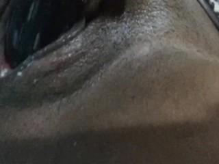 "Creamy wet pussy fucking big black 10"" dildo"