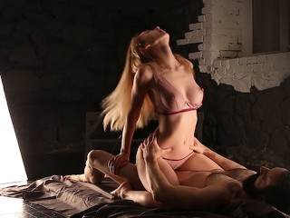 Sensual riding and creampie through panties...