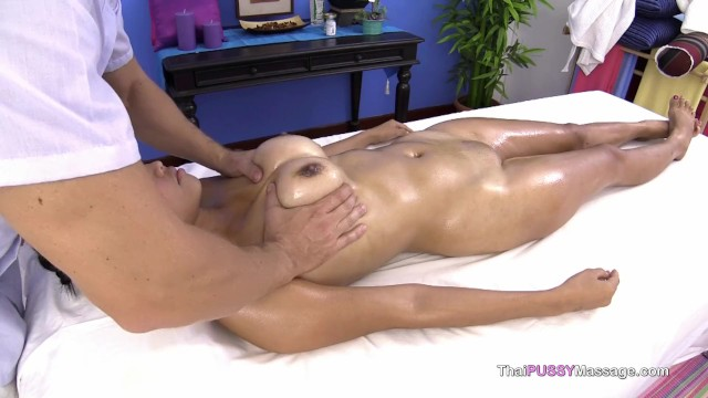 Larges tits - Large natural boobs on asian happy massage