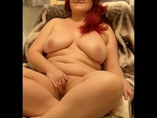 Chubby Big Natural Milf Masturbating in Chair while Boyfriend watches