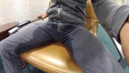 Public pissing in a hotel lobby and cum in a public bathroom