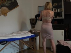 Rich and rude women comes for a massage and ends up with cum in her mouth