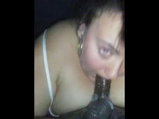 White bbw gags while being face fucked
