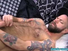 Macho man Ryan Reid pulling his big cock and spraying cum