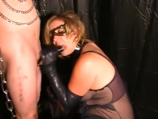 Sexy Blonde In Latex Gloves Mask DOM Sucks and Milks Cock cum Explosion