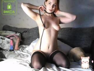 girl strangles herself with a belt and masturbates - MollyRedWolf
