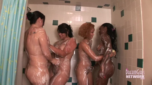 4 Girl interracial Shower Super Hot 5