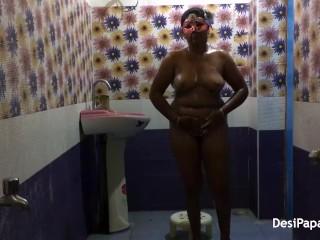 full desi bhabhi sexy in saree dress indian style bathroom fucking in morni