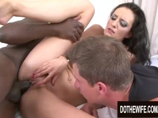 Cum Swapping Cuckold Licks While Wife Laura Davis Takes a BBC in Every Hole