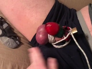 Swollen tied blue balls in Chastity Cage, Part 1