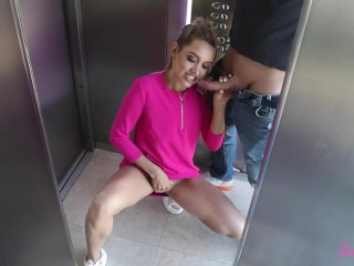 Public Elevator Blowjob - Blonde Teen Sucks, Fucks And Swallows Cum