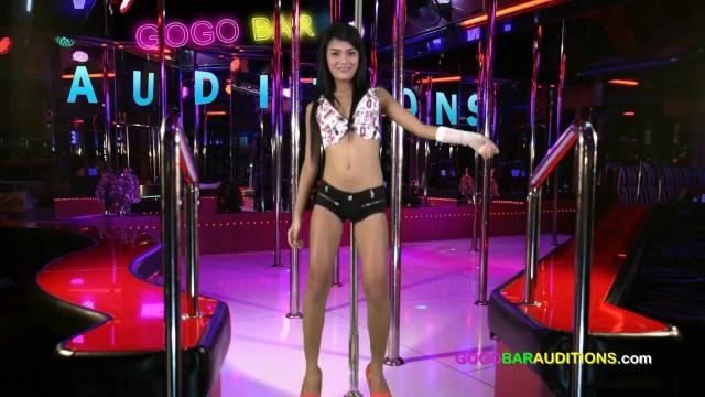 Brace-faced Thai teen auditions at GOGO bar 10
