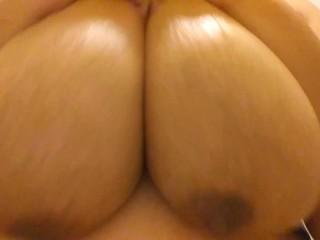I massage my tits with oil after hot...