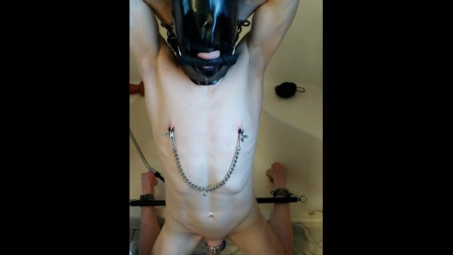 Contract gay slave Slave locked in a tight rubber sensory deprivation hood, morning clean out
