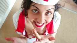 Nurse addicted to cum helps doctor by swallowing his massive load POV