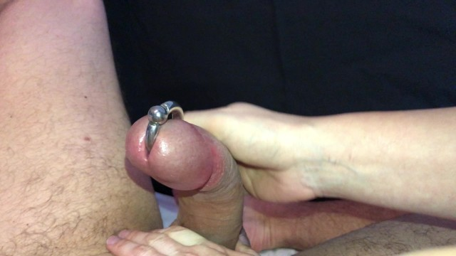 The BEST Handjob on Pornhub - Squirting CUM out of Piercing Hole!! 7