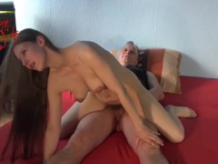 Granddaughter Rides StepGrandfather like a Stallion with her Hairy Pussy