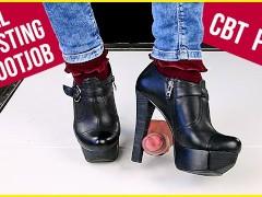 Ballbusting cock trampling and CBT in high heel boots Shoejob Sockjob POV