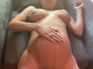 Pregnant humiliation from ass to belly cum shot...