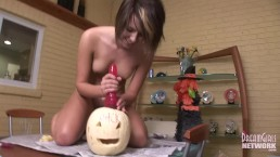 Costumed Hottie Fucks Jack O Latern Mounted Dildo