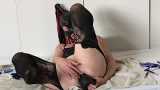 Extreme Anal Training for Submissive Painslut: 28 Pens & Monster Buttplug