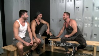 ExtraBigDicks Latino, German & American Show Off Big Cocks in Locker Room