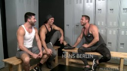 ExtraBigDicks Latino, German & American Show Off Big Cocks in Locker Room