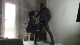 Wife in shiny jacket milking husband in quilted jacket 2