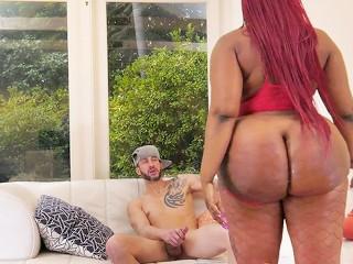 Ebony tries anal with big white dick...