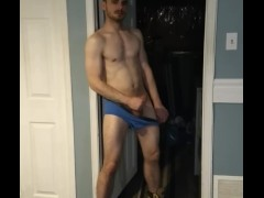 Jerking In Blue Briefs and Work Boots