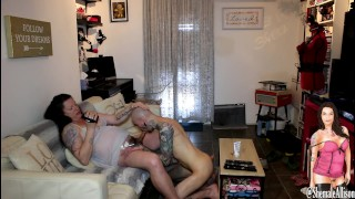 Tattooed hottie sucks Shemale Transexual b4 bottoming taking load to face